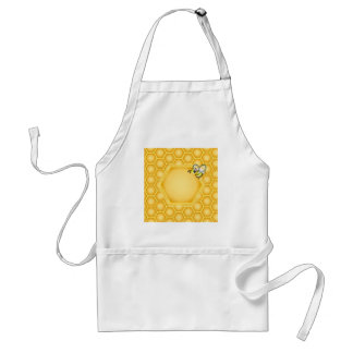 Honeycomb background with a cute honeybee standard apron