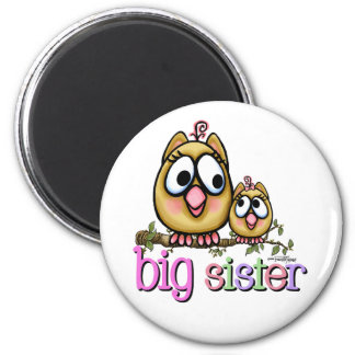 Hoot for Big Sister 6 Cm Round Magnet