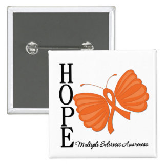 Hope Butterfly Multiple Sclerosis Awareness 15 Cm Square Badge