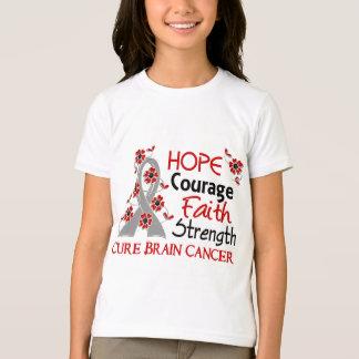 Hope Courage Faith Strength 3 Brain Cancer T Shirts
