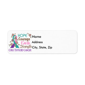 Hope Courage Faith Strength 3 Thyroid Cancer Return Address Label
