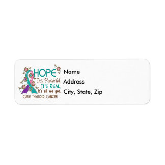 Hope Flower Ribbon Thyroid Cancer Return Address Label