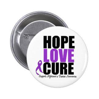 Hope Love Cure Alzheimer's Disease 6 Cm Round Badge