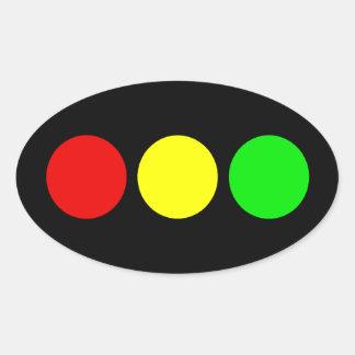 Horizontal Stoplight Oval Sticker