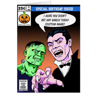 Horror comic style birthday greeting card