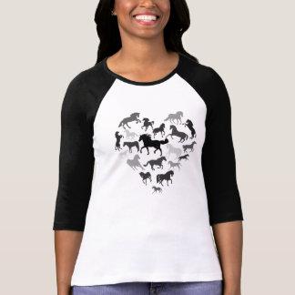 Horse and Heart Tshirt- Black/ brown Tee Shirts