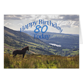 Horse and landscape 80th birthday card