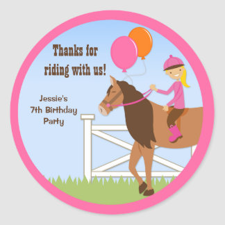 Horse Birthday Party Favor Stickers