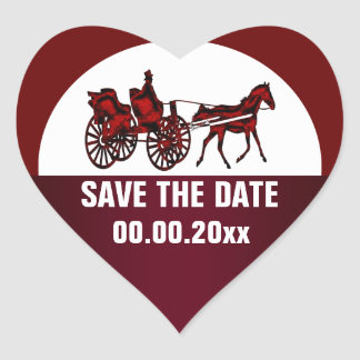 Horse carriage save the date HEART Heart Sticker