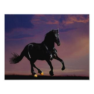 Horse galloping free 11 cm x 14 cm invitation card