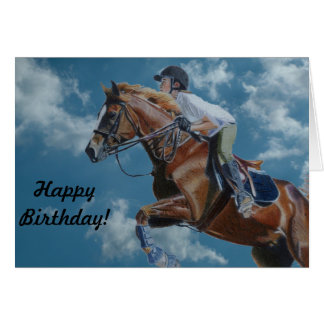 Horse Jumping and Clouds Greeting Card