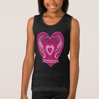 Horse Lover Heart Ladies Camisole T Shirts