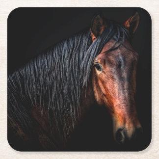 Horse Portrait VII Square Paper Coaster