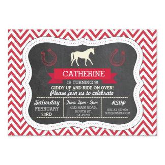 Horse Riding Party Invite Pony Red Invitation