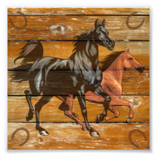 Horses Horseshoes Barn Wood Cowboy Photo Art