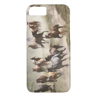 Horses running during roundup, Montana iPhone 7 Case