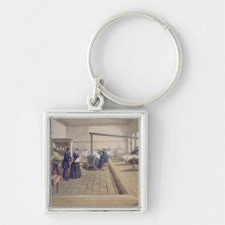 Hospital at Scutari, detail of Florence Nightingal Silver-Colored Square Key Ring