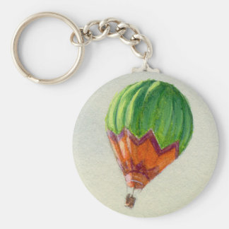 HOT AIR BALLON by SHARON SHARPE Basic Round Button Key Ring