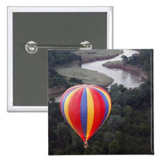 Hot-Air Ballooning over the Mara River 15 Cm Square Badge
