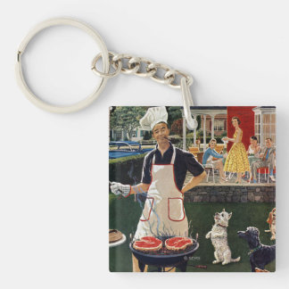 Hot Dogs Double-Sided Square Acrylic Key Ring