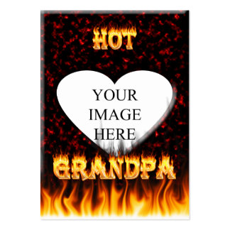 Hot grandpa fire and red marble heart. pack of chubby business cards