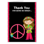 Hot Pink and Black and White Zebra Thank You Note Card