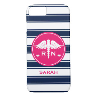 HOT PINK AND NAVY STRIPE CADUCEUS NURSE RN iPhone 7 CASE