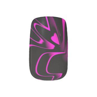 Hot Pink/Black Abstract Minx Nail Stickers