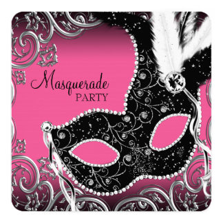 Hot Pink Black Mask Masquerade Party 13 Cm X 13 Cm Square Invitation Card