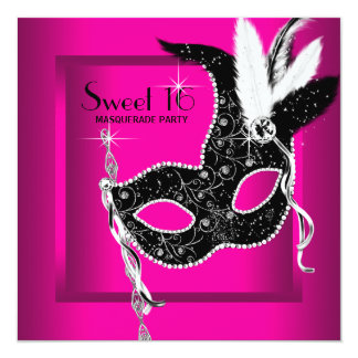 Hot Pink Black Sweet 16 Masquerade Party 13 Cm X 13 Cm Square Invitation Card