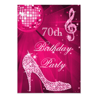 Hot Pink Disco Ball Sparkle Heels 70th Birthday 13 Cm X 18 Cm Invitation Card