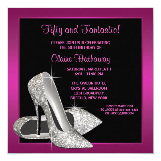 Hot Pink Glitter High Heels Womans Birthday Party 13 Cm X 13 Cm Square Invitation Card