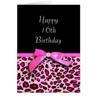 Hot pink leopard print Happy Sweet 16th Birthday Greeting Card