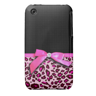 Hot pink leopard print ribbon bow graphic iPhone 3 case