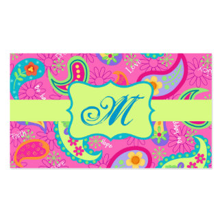 Hot Pink Modern Paisley Pattern Monogram Initial Pack Of Standard Business Cards