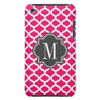 Hot Pink Moroccan Pattern with Charcoal Monogram Barely There iPod Cover