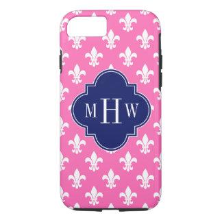 Hot Pink Wht Fleur de Lis Navy 3 Initial Monogram iPhone 7 Case