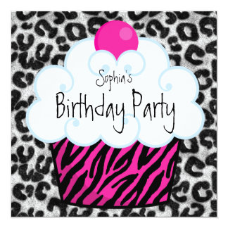 Hot Pink Zebra Girls Cupcake Birthday Party 13 Cm X 13 Cm Square Invitation Card