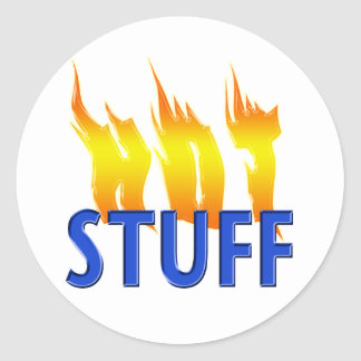 Hot Stuff and Flames Round Sticker