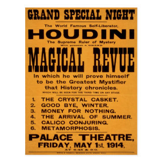 Houdini's Magical Revue, 1914 Postcard