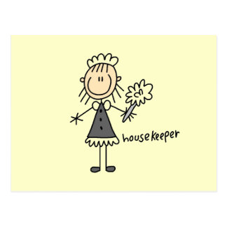 Housekeeper Stick Figure Postcard