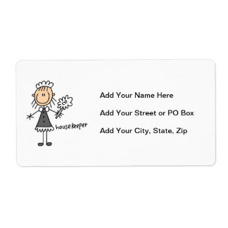 Housekeeper Stick Figure Shipping Label