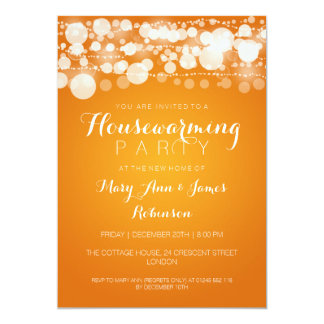 Housewarming Party Modern Dots Orange 13 Cm X 18 Cm Invitation Card