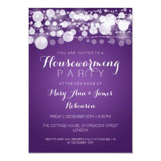 Housewarming Party Modern Dots Purple 13 Cm X 18 Cm Invitation Card