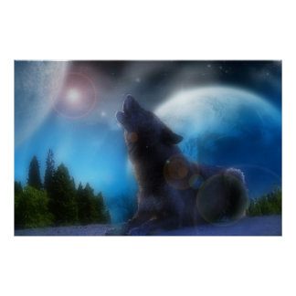 Howling Black Wolf Poster