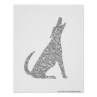 HOWLING DOG by NICHOLAS_COPYRIGHT_... Poster