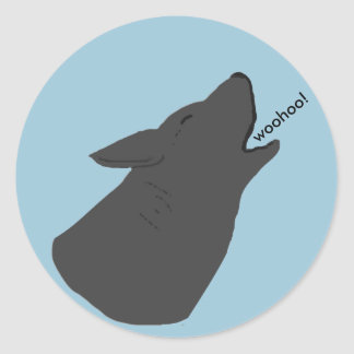 Howling Wolf Face Round Sticker