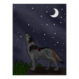 Howling Wolf (Gray) Poster