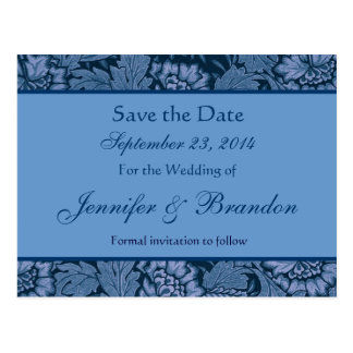 Hues of Blue Floral Damask Save The Date Postcard