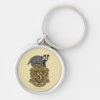 HUFFLEPUFF™ Crest Silver-Colored Round Key Ring
